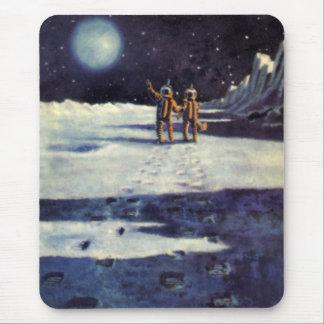 Vintage Science Fiction Astronaut Aliens on Moon Mouse Pad