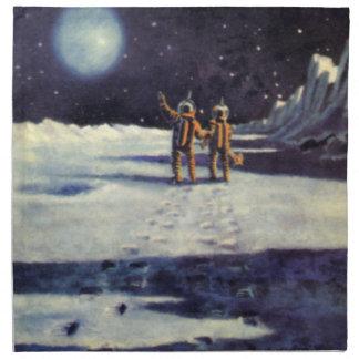 Vintage Science Fiction Astronaut Aliens on Moon Napkin