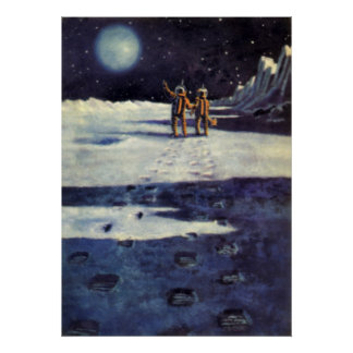 Vintage Science Fiction Astronaut Aliens on Moon Poster