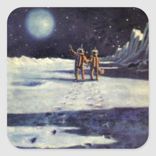 Vintage Science Fiction Astronaut Aliens on Moon Square Sticker