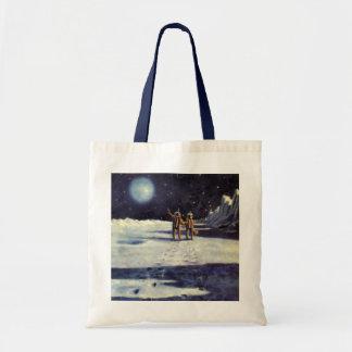 Vintage Science Fiction Astronaut Aliens on Moon Tote Bag