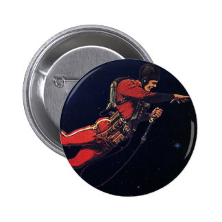 Vintage Science Fiction Astronaut in Outer Space Pinback Buttons