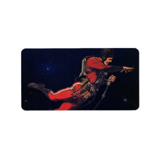 Vintage Science Fiction Astronaut in Outer Space Label