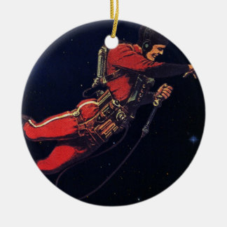 Vintage Science Fiction Astronaut in Outer Space Double-Sided Ceramic Round Christmas Ornament