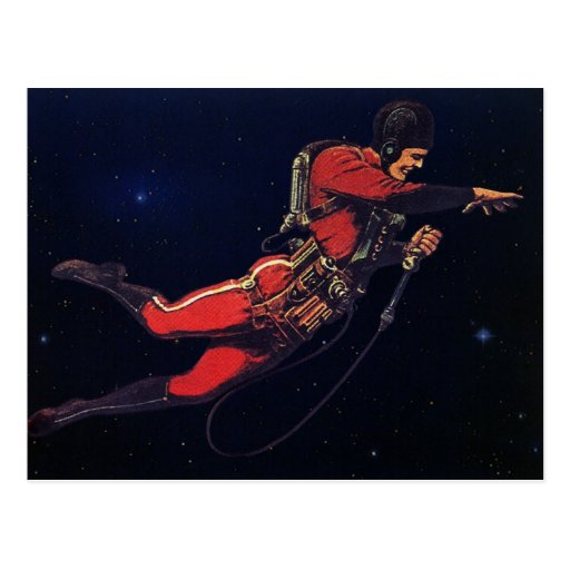 Vintage Science Fiction Astronaut in Outer Space Postcards