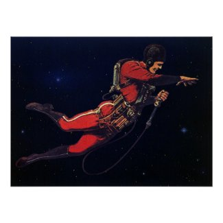 Vintage Science Fiction Astronaut in Outer Space Posters