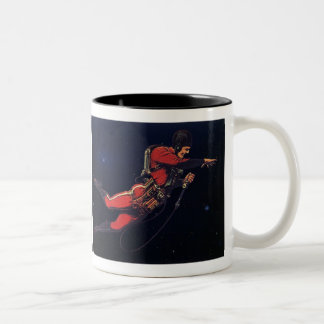 Vintage Science Fiction Astronaut in Outer Space Two-Tone Coffee Mug