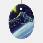 Vintage Science Fiction Astronaut on a Space Walk Double-Sided Oval Ceramic Christmas Ornament