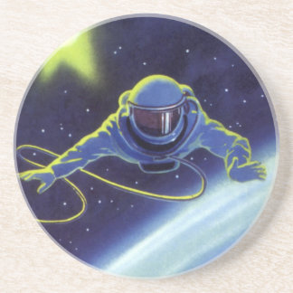 Vintage Science Fiction Astronaut on a Space Walk Drink Coaster