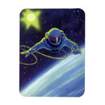 Vintage Science Fiction Astronaut on a Space Walk Magnet