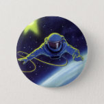 Vintage Science Fiction Astronaut on a Space Walk Pinback Button