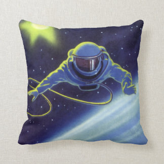 Vintage Science Fiction Astronaut on a Space Walk Throw Pillow