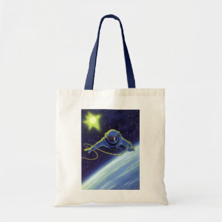 Vintage Science Fiction Astronaut on a Space Walk Tote Bag