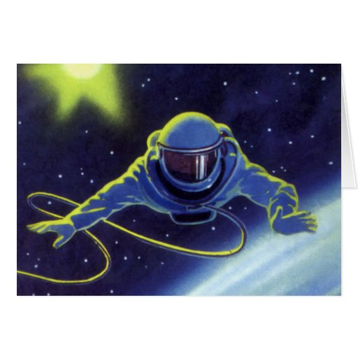 Vintage Science Fiction Astronaut on a Spacewalk Greeting Card