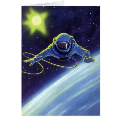 Vintage Science Fiction Astronaut on a Spacewalk Card