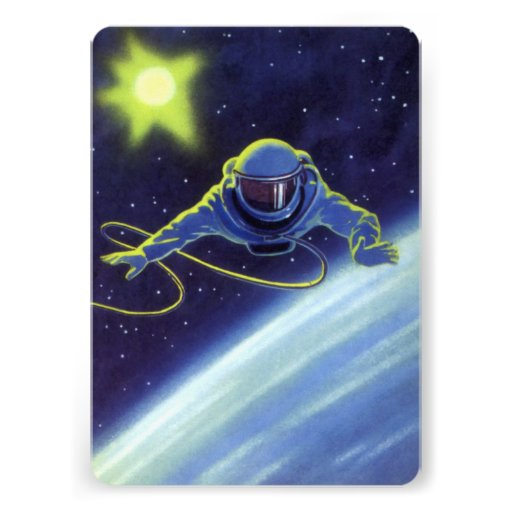 Vintage Science Fiction Astronaut on a Spacewalk Personalized Invites