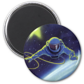 Vintage Science Fiction Astronaut on a Spacewalk 2 Inch Round Magnet