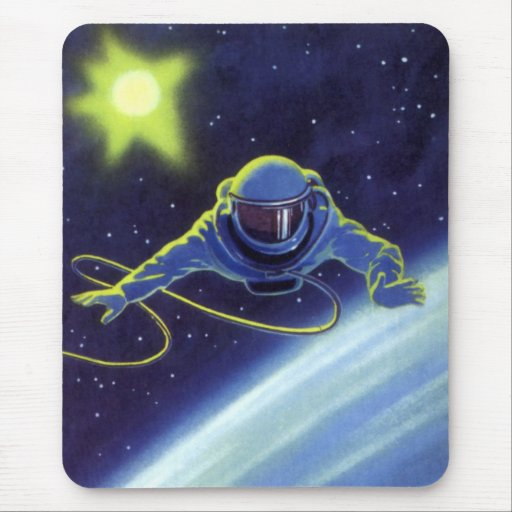 Vintage Science Fiction Astronaut on a Spacewalk Mousepads