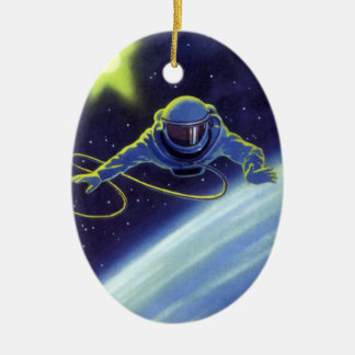 Vintage Science Fiction Astronaut on a Spacewalk Double-Sided Oval Ceramic Christmas Ornament