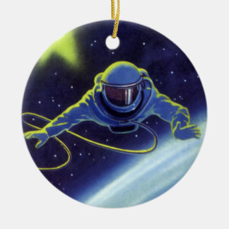 Vintage Science Fiction Astronaut on a Spacewalk Double-Sided Ceramic Round Christmas Ornament
