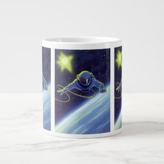 Vintage Science Fiction Astronaut on a Spacewalk Extra Large Mugs