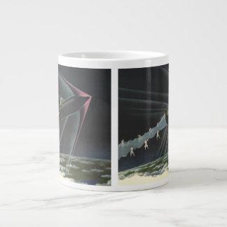 Vintage Science Fiction Astronaut Riding a Rocket Large Coffee Mug