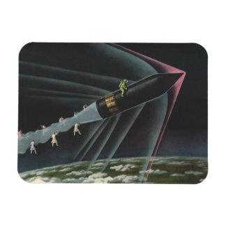 Vintage Science Fiction Astronaut Riding a Rocket Magnet