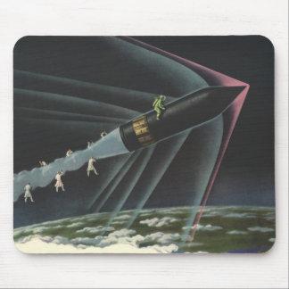 Vintage Science Fiction Astronaut Riding a Rocket Mouse Pad
