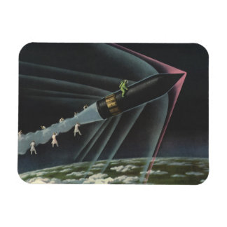 Vintage Science Fiction Astronaut Riding a Rocket Flexible Magnets