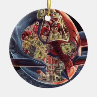 Vintage Science Fiction Astronaut Rocket Spaceship Ceramic Ornament