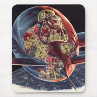 Vintage Science Fiction Astronaut Rocket Spaceship Mouse Pad