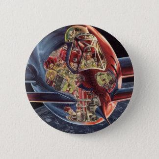 Vintage Science Fiction Astronaut Rocket Spaceship Pinback Button