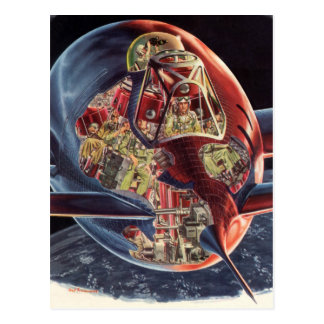 Vintage Science Fiction Astronaut Rocket Spaceship Postcard