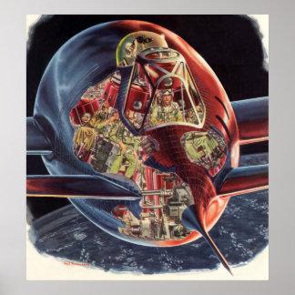 Vintage Science Fiction Astronaut Rocket Spaceship Poster