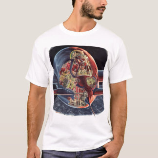 Vintage Science Fiction Astronaut Rocket Spaceship T-Shirt