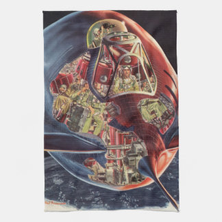 Vintage Science Fiction Astronaut Rocket Spaceship Towel