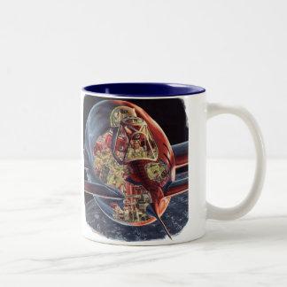 Vintage Science Fiction Astronaut Rocket Spaceship Two-Tone Coffee Mug