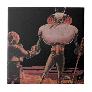 Vintage Science Fiction Astronaut Shake Hand Alien Ceramic Tile