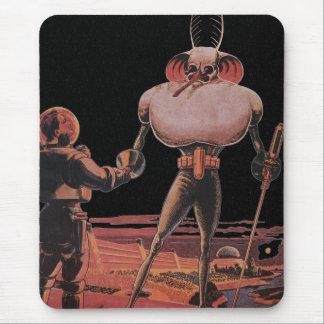Vintage Science Fiction Astronaut Shake Hand Alien Mouse Pad