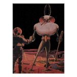 Vintage Science Fiction Astronaut Shake Hand Alien Poster