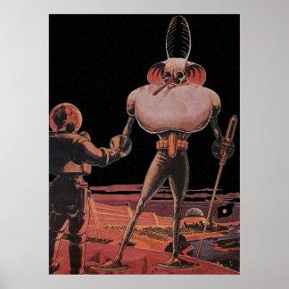 Vintage Science Fiction Astronaut Shake Hand Alien Poster