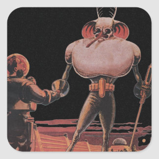 Vintage Science Fiction Astronaut Shake Hand Alien Square Sticker