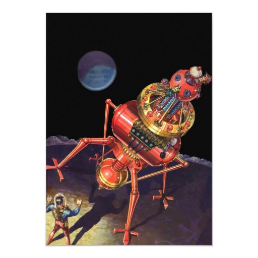 Vintage Science Fiction Astronaut with Alien Robot 5x7 Paper Invitation Card