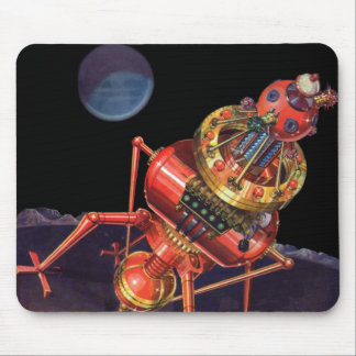 Vintage Science Fiction Astronaut with Alien Robot Mouse Pad