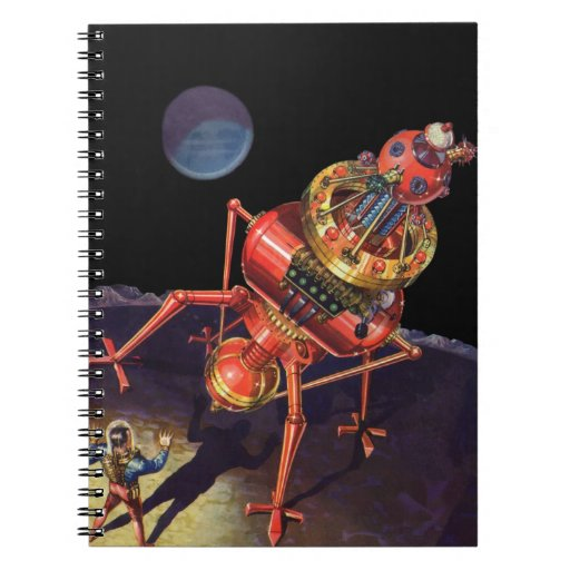 Vintage Science Fiction Astronaut with Alien Robot Notebook
