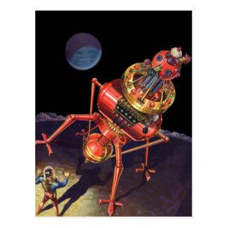 Vintage Science Fiction Astronaut with Alien Robot Postcard