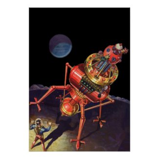 Vintage Science Fiction Astronaut with Alien Robot Print