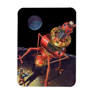 Vintage Science Fiction Astronaut with Alien Robot Rectangle Magnet