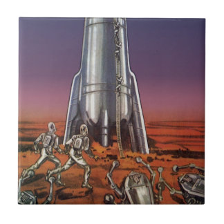 Vintage Science Fiction, Astronauts Beetle Aliens Ceramic Tile