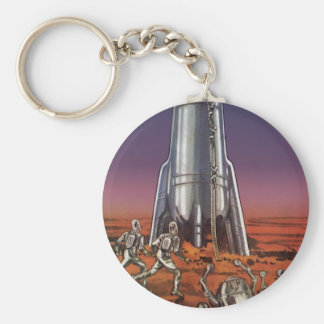 Vintage Science Fiction, Astronauts Beetle Aliens Keychain